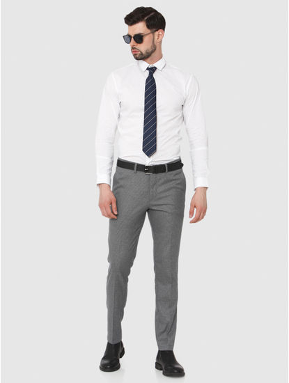 Grey Slim Fit Formal Trousers