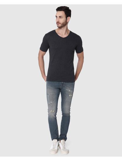 Dark Grey Slim Fit V Neck T-Shirt