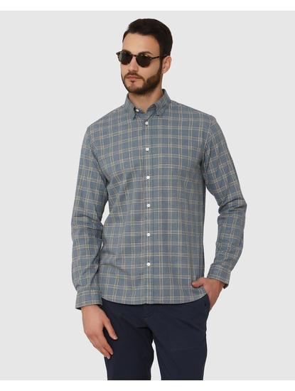 Blue Checks Curved Hem Full Sleeves Shirt