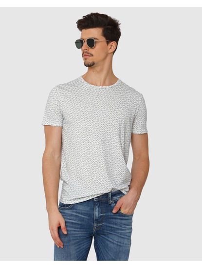 White All Over Abstract Print Crew Neck T-Shirt