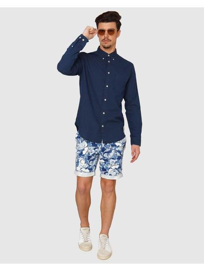 Dark Blue Dotted Side Tape Detail Slim Fit Full Sleeves Shirt