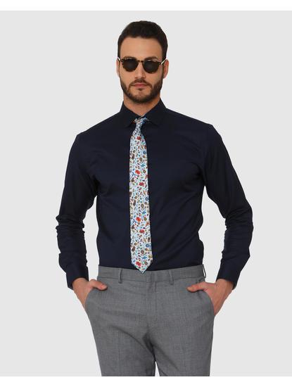 Navy Blue Slim Fit Full Sleeves Formal Shirt