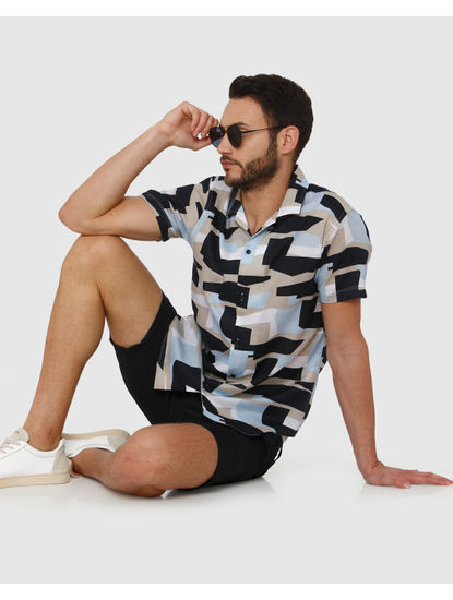 Blue Colour Blocked All Over Abstract Print Short Sleeves Shirt