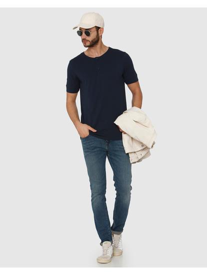 Navy Blue Henley Neck T-Shirt