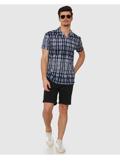 Blue All Over Abstract Print Regular Fit Short Sleeves Shirt