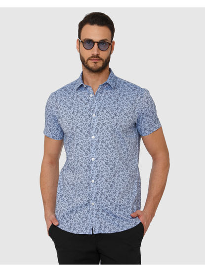 Blue All Over Floral Print Slim Fit Short Sleeves Shirt