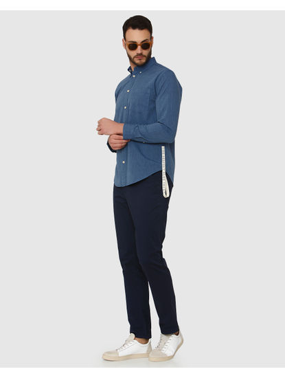 Blue Side Tape Detail Slim Fit Full Sleeves Shirt