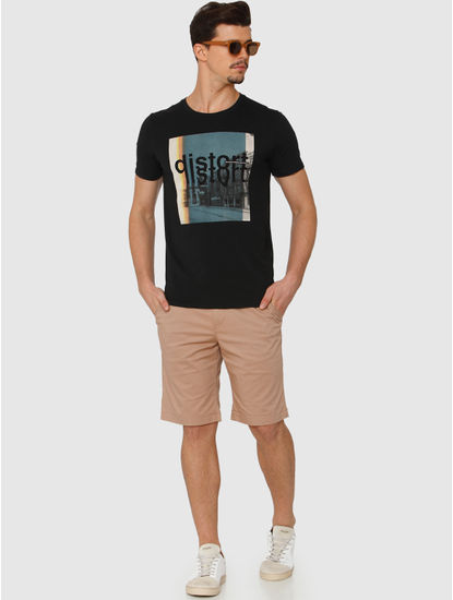 Black Graphic And Text Chest Print Crew Neck T-Shirt