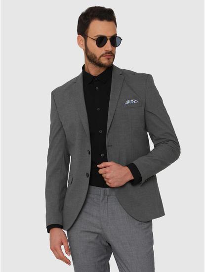 Black Faded Linen Slim Fit Full Sleeves Shirt