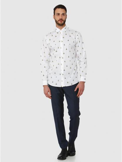 White All Over Boat Print Regular Fit Full Sleeves Shirt