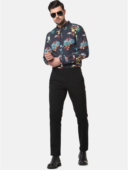 Black Floral Print Full Sleeves Shirt