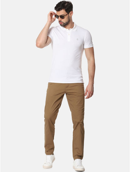Brown Mid Rise Slim Fit Chinos