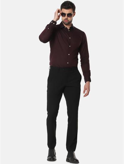 Burgundy Formal Full Sleeves Shirt
