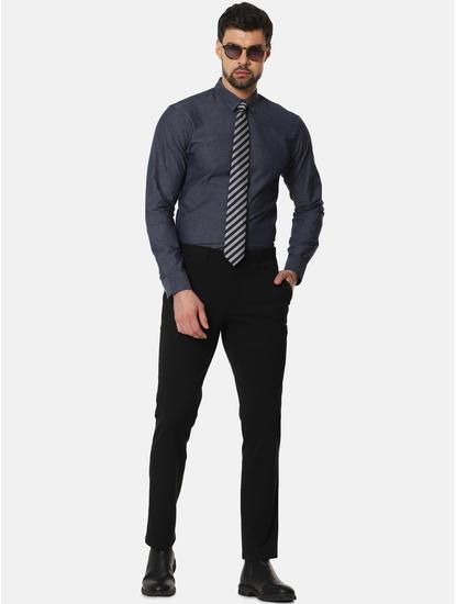 Navy Blue Slim Fit Full Sleeves Shirt