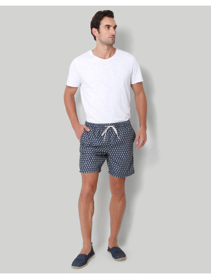 Dark Blue Printed Swimshorts