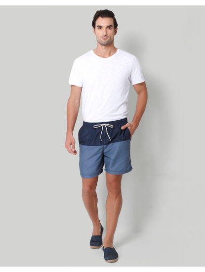 Dark Blue Colour Blocked Swimshorts