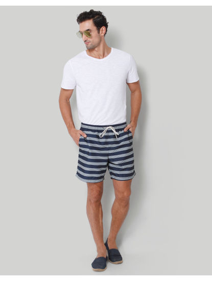 Dark Blue Striped Swimshorts