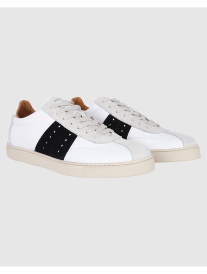 White Suede Patch Sneakers