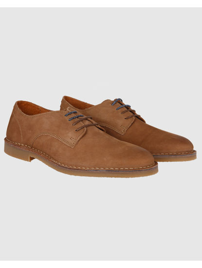 Brown Leather Derby Formal Shoes