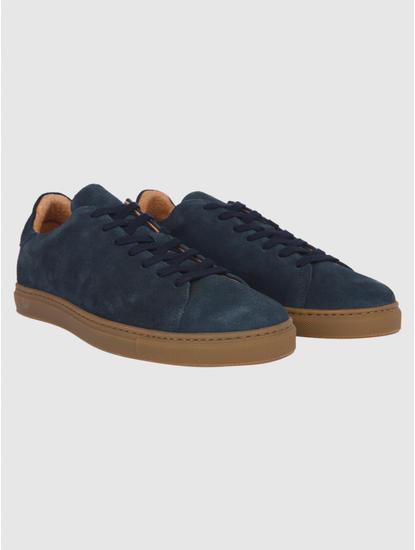 Navy Blue Suede Sneakers