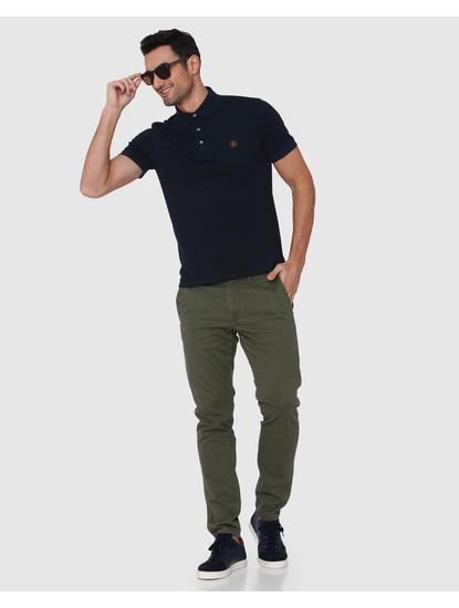 Dark Blue Slim Fit Polo Neck T-Shirt