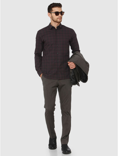 Grey Check Full Sleeves Shirt