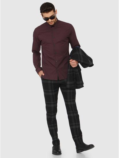 Burgundy Check Full Sleeves Shirt