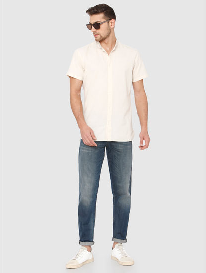Cream Slim Fit Short Sleeves Shirt