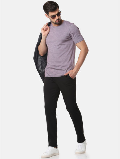 Light Purple Slim Fit Crew Neck T-Shirt