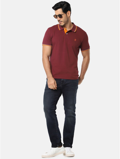 Maroon with Contrast Collar Polo T-Shirt