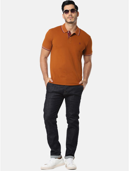 Camel Brown with Contrast Tipping Polo T-Shirt