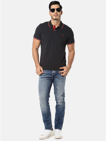 Black & Red Slim Fit Polo T-Shirt