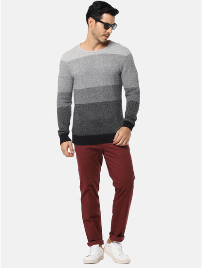 Grey Colourblocked Pullover