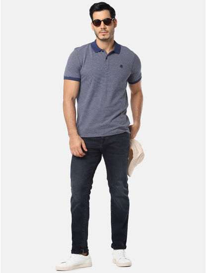 Blue Self Design Slim Fit Polo T-Shirt