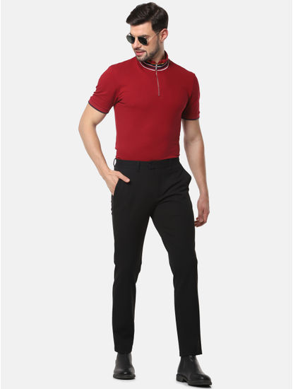 Red Striped Slim Fit High Neck T-Shirt