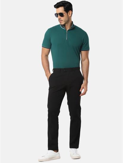 Green Striped Zip Detail High Neck T-Shirt