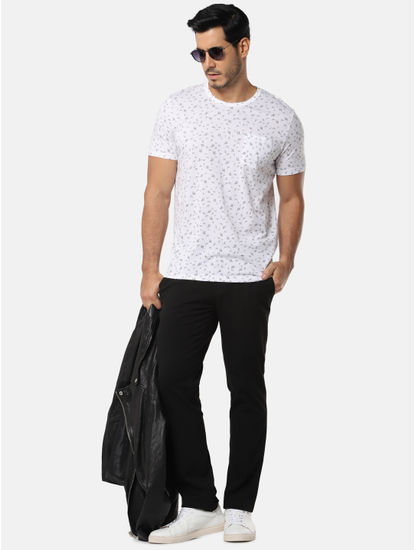 White All Over Floral Print Slim Fit Crew Neck T-Shirt