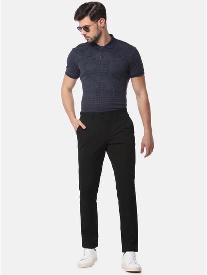 Navy Blue Self Design Polo T-Shirt