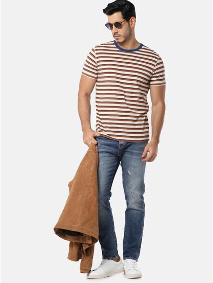 Cream Striped Slim Fit Crew Neck T-Shirt