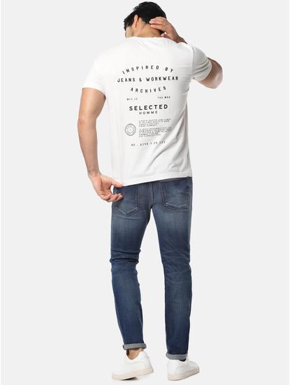 White Text Print Crew Neck T-Shirt