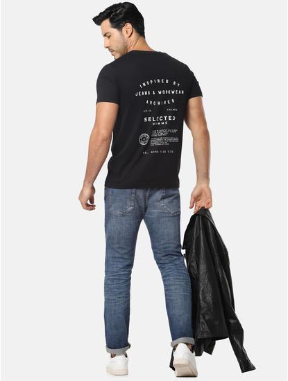 Black Text Print Crew Neck T-Shirt