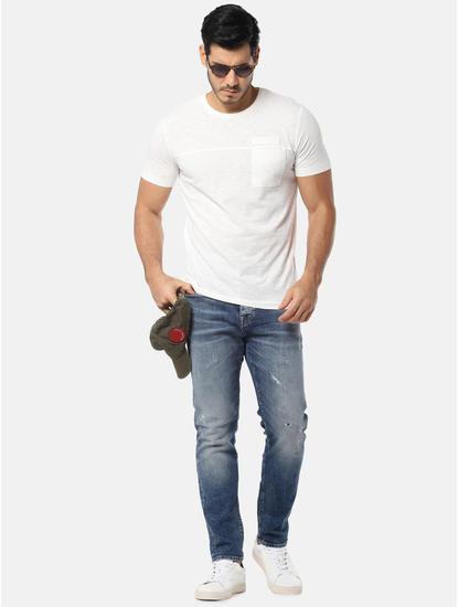 White One Pocket Slim Fit Crew Neck T-Shirt