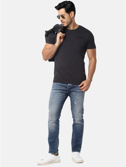 Black One Pocket Slim Fit Crew Neck T-Shirt