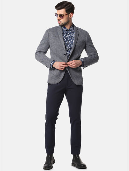 Grey Double Button Slim Fit Blazer