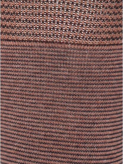 Brown Striped Mid Calf Length Socks