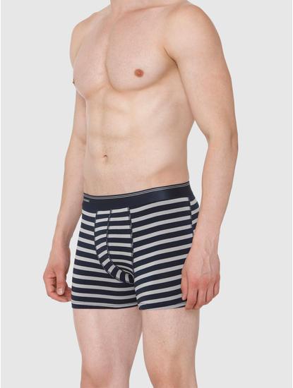 Navy Blue Striped Trunks
