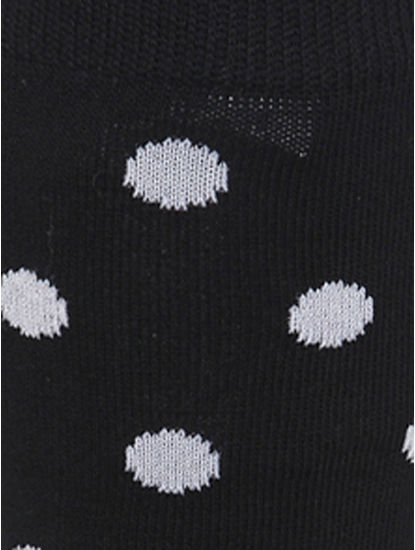 Black Polka Dot Print Mid Calf Length Socks
