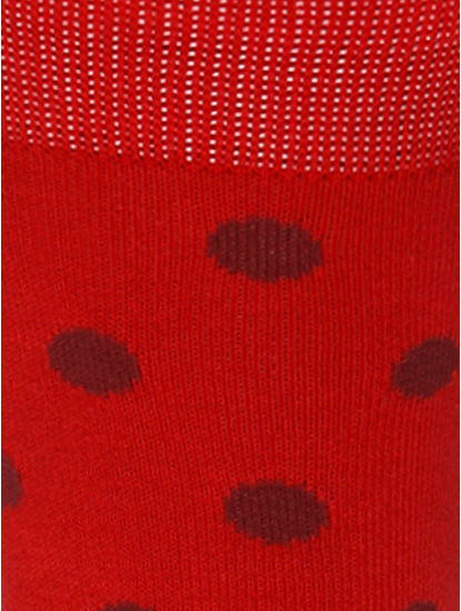 Red Polka Dot Print Mid Calf Length Socks
