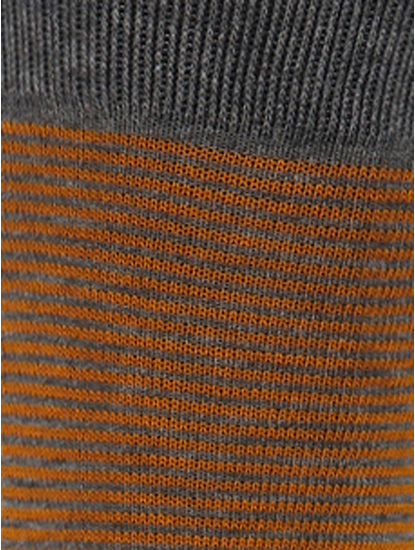 Orange Striped Mid Calf Length Socks