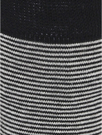 Black Striped Mid Calf Length Socks